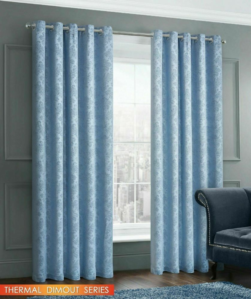 EMBOSSED DAMASK LIVINGROOM BEDROOM THERMAL BLOCKOUT RINGTOP EYELET CURTAINS BLUE